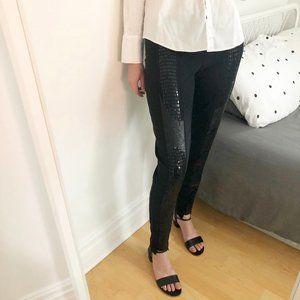 Nicole Miller Gold Black Silk & Sequin Dress Pants